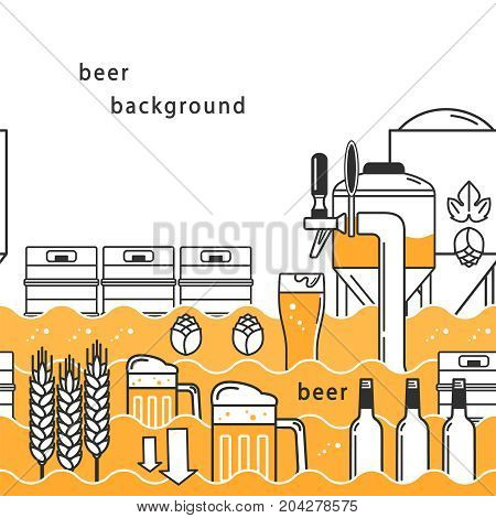 Seamless linear vector pattern with beer, kegs, wheat, hops, bottles, beer tap, mug, with space for text on a white background.