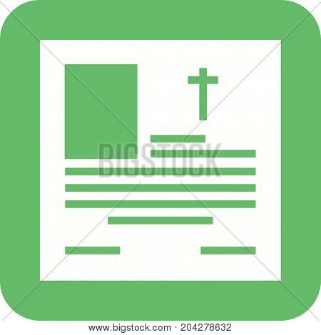 Obituary, funeral, cross icon vector image. Can also be used for funeral. Suitable for mobile apps, web apps and print media.