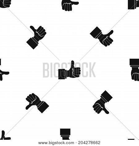 Thumb up gesture pattern repeat seamless in black color for any design. Vector geometric illustration