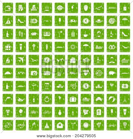 100 honeymoon icons set in grunge style green color isolated on white background vector illustration