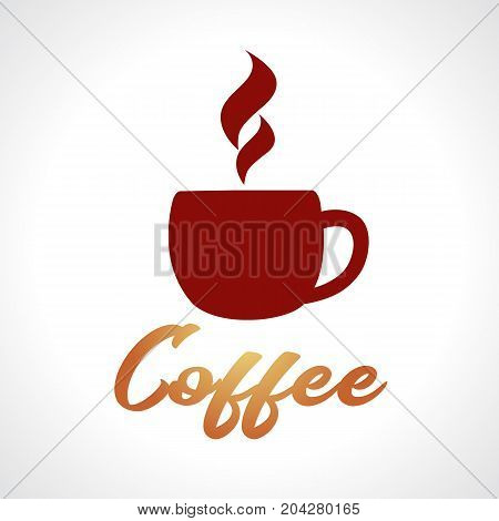 Coffee shop hot cup logo. Coffee label vector illustration, emblem design hot coffee cup on white background
