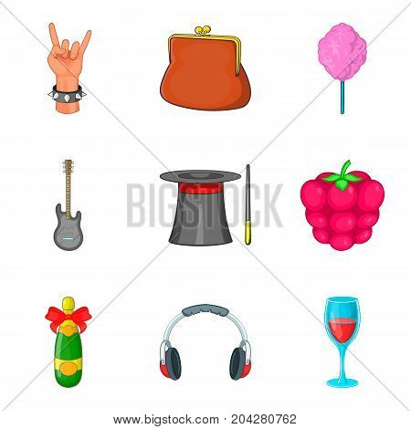 Rock party icon set. Cartoon set of 9 rock party vector icons for web design isolated on white background