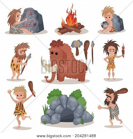 Prehistoric stone age set, primitive people, stone age weapon and tools vector Illustrations on a white background