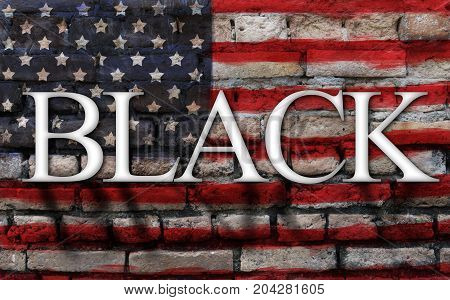 word black on American flag crack wall background