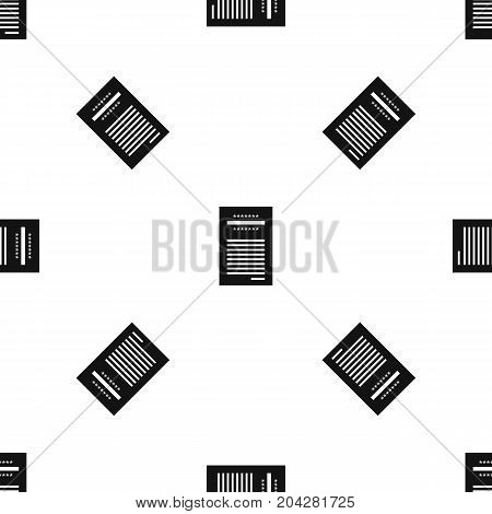 Sales printed receipt pattern repeat seamless in black color for any design. Vector geometric illustration