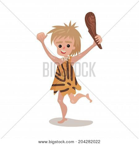 Prehistoric cave boy wearing in an animal skin running with a cudgel, stone age character colorful vector Illustration on a white background