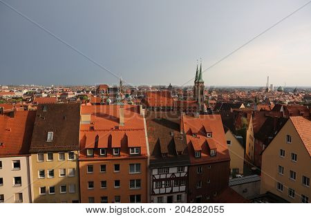 Panorama Of The City Of Nuremberg In Germany With Many Houses An
