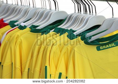 Many Yellow T-Shirt with text Brasil for sale in the shop