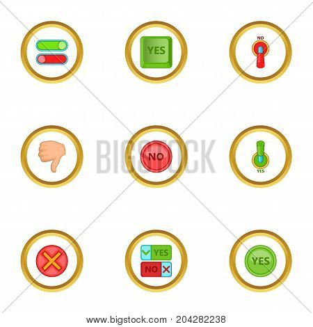 Yes and no button icons set. Cartoon style set of 9 yes and no button vector icons for web design