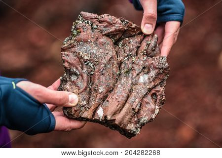 Stagnated volcanic magma in female hands Iceland
