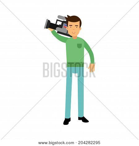 Cameraman character standing and holding professional camera on his shoulder vector Illustration on a white background