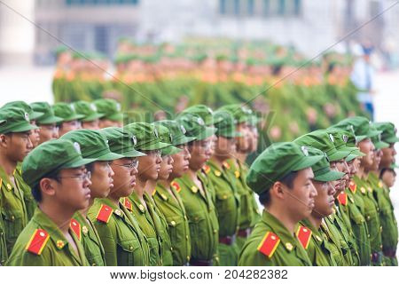 Male Chinese Students Military Training Formation