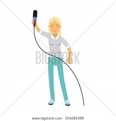 Blonde female reporter character standing with a raised microphone, journalist doing report vector Illustration on a white background