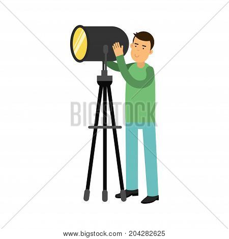 Man controlling studio lighting equipment on a tripod vector Illustration on a white background