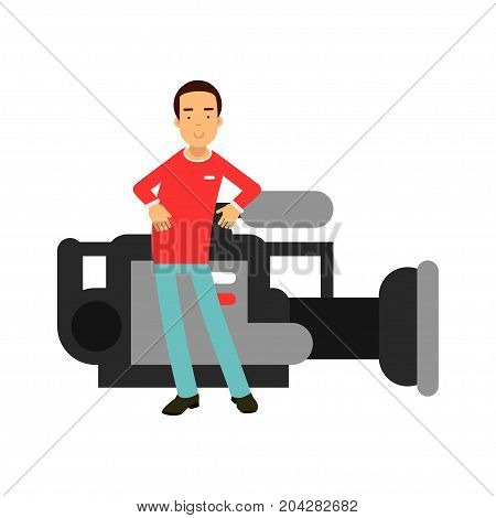 Cameraman character standing next to a giant professional camera vector Illustration on a white background