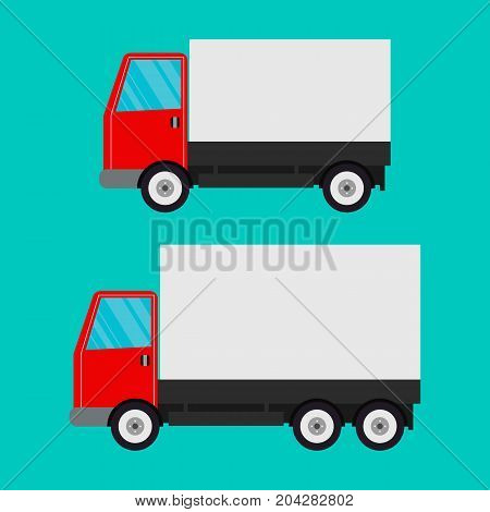 Delivery truck isolated on blue background. vector
