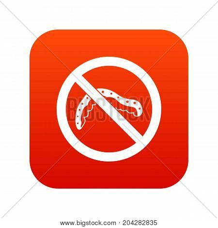 No caterpillar sign icon digital red for any design isolated on white vector illustration