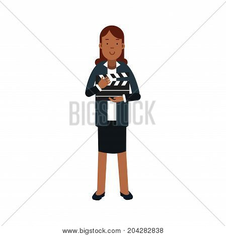 Young woman working with a clapperboard vector Illustration on a white background