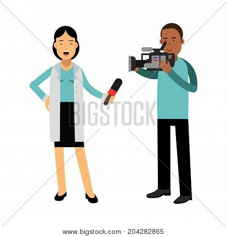 Female reporter and cameraman operator characters filming news while reporter speaking with microphone, journalist doing report vector Illustration on a white background