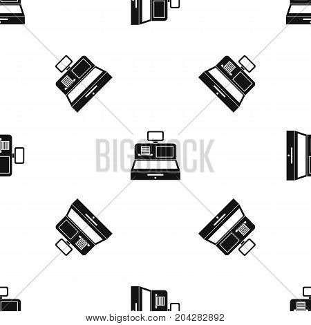 Cash register with cash drawer pattern repeat seamless in black color for any design. Vector geometric illustration