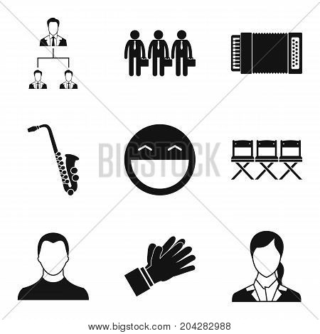 Audition icons set. Simple set of 9 audition vector icons for web isolated on white background