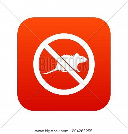 No rats sign icon digital red for any design isolated on white vector illustration