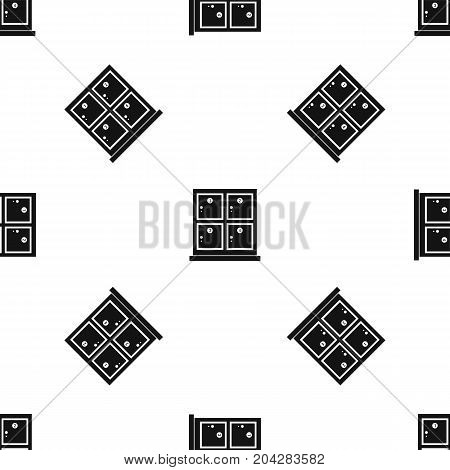 Cells for storage in the supermarket pattern repeat seamless in black color for any design. Vector geometric illustration