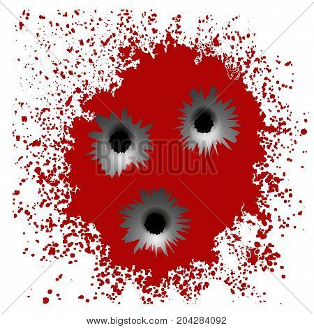 Set of Different Bullet Holes Isolated on Red Blood Splatter Background
