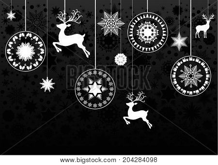 Christmas White  Tree Decoration  On Black  Background.
