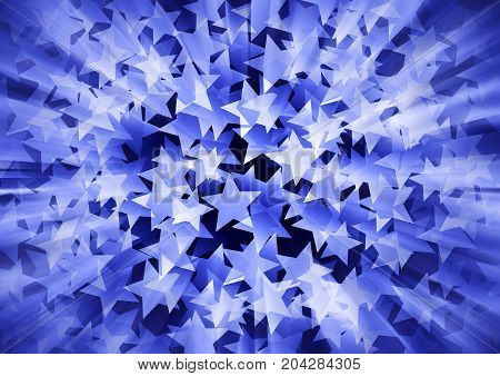 Holiday background in 3d consisting of blue stars