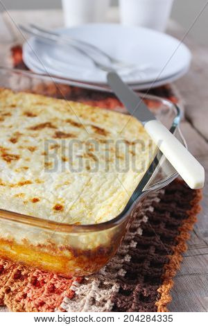Cottage Cheese Casserole With Oatmeal And Lemon Zest. Rustic Style, Selective Focus.