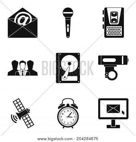 Recording icons set. Simple set of 9 recording vector icons for web isolated on white background