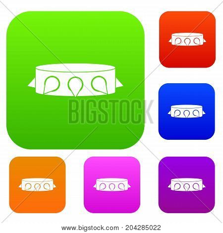 Rock collar set icon color in flat style isolated on white. Collection sings vector illustration