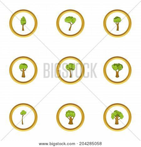 Wood icons set. Cartoon style set of 9 wood vector icons for web design