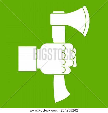 Hand holding axe with wooden handle icon white isolated on green background. Vector illustration