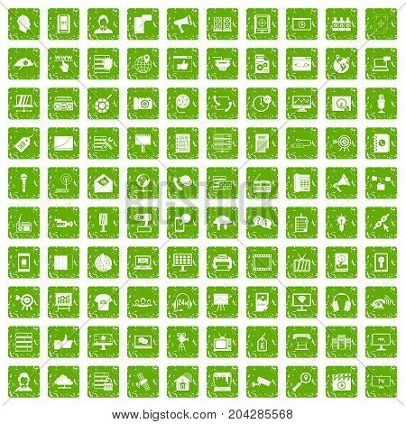 100 information technology icons set in grunge style green color isolated on white background vector illustration