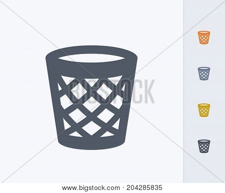 Empty Litter Bin - Carbon Icons. A professional, pixel-perfect icon designed on a 32x32 pixel grid and redesigned on a 16x16 pixel grid for very small sizes