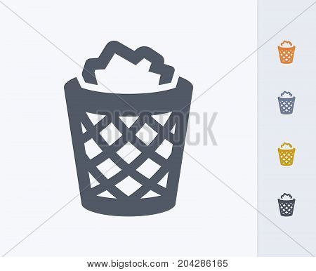 Full Litter Bin - Carbon Icons. A professional, pixel-perfect icon designed on a 32x32 pixel grid and redesigned on a 16x16 pixel grid for very small sizes