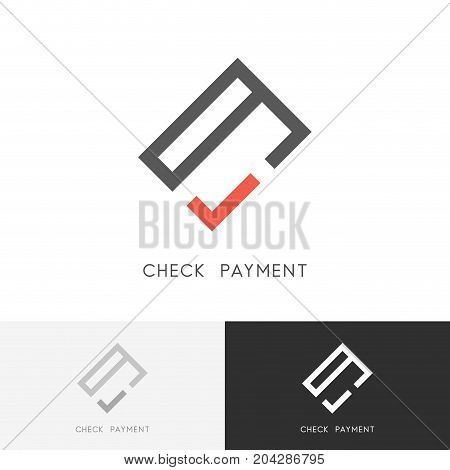 Check payment logo - credit card or wallet and red checkmark or tick symbol. Money transfer, paying and purchase vector icon.