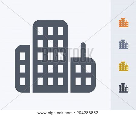 Skyscrapers - Carbon Icons. A professional, pixel-perfect icon designed on a 32x32 pixel grid and redesigned on a 16x16 pixel grid for very small sizes
