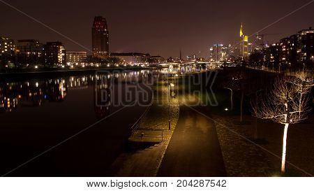 Frankfurt at night view from Ostend district during Fall