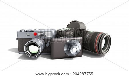 Photo Cameras Of Different Classes 3D Render On White