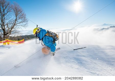 Rearview Shot Of A Freerider Skier Sliding Down The Slope At Ski Resort Mountains Copyspace Ski Reso