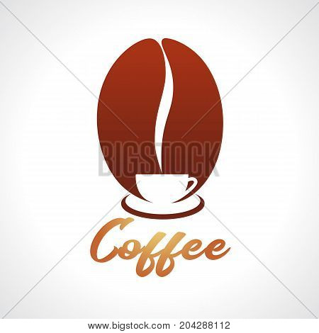 Hot coffee cup logo design on brown grain background, cafe emlem vector illustration. Coffee shop hot cup logo