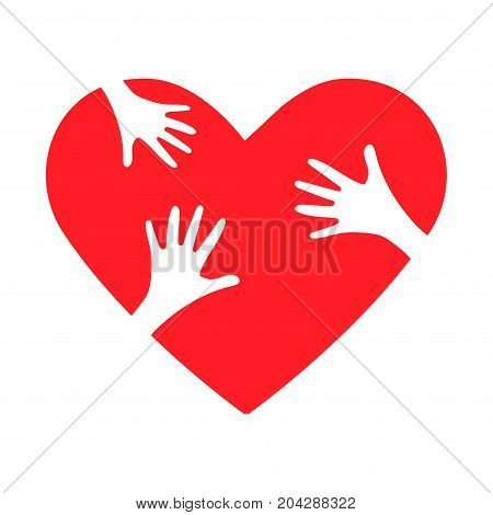 Charity heart symbol or giving helping hand or philanthropy illustration. Could be also used as NGO charity work logo, stay together or support symbol.