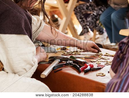 Female Jeweler Working With Different Tools, Selective Focus