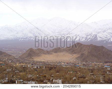 Leh City View With Snow Mountain, Ladahk , Kashmir, India