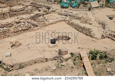 Excavation at archaeological site in Athens Greece. Ruins of an ancient structure.