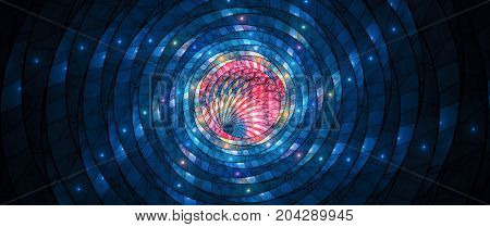 Colorful glowing stained-glass 8k widescreen computer generated abstract background 8k 3D rendering