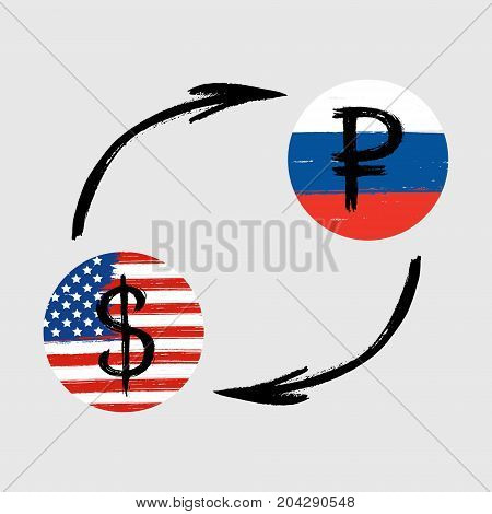 Currency Signs - Grunge - Exchange - Dollar and Ruble